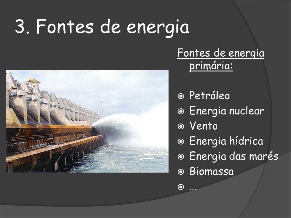 3. Fontes de energia Fontes de energia primária: Petróleo Energia nuclear Vento Energia hídrica Energia das marés Biomassa …
