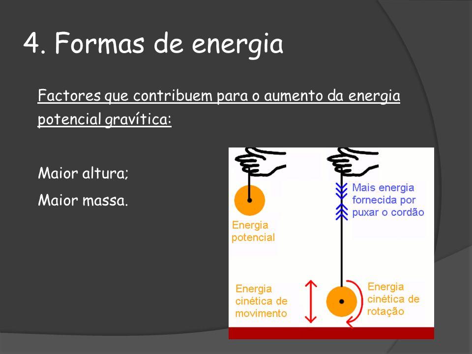 4. Formas de energia Factores que contribuem para o aumento da energia potencial gravítica: Maior altura; Maior massa.