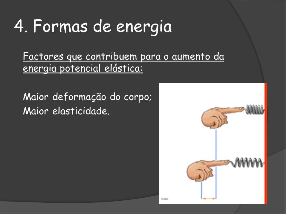 4. Formas de energia Factores que contribuem para o aumento da energia potencial elástica: Maior deformação do corpo; Maior elasticidade.