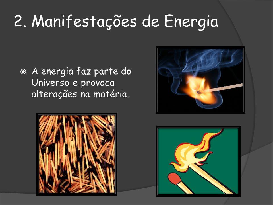 Menos óbvias Óbvias ALTERAÇÕES NA MATÉRIA Movimento Manutenção da vida celular 2.