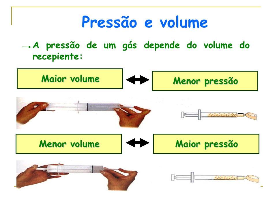 A pressão de um gás depende do volume do recepiente: Maior volume Menor pressão Menor volume Maior pressão Pressão e volume