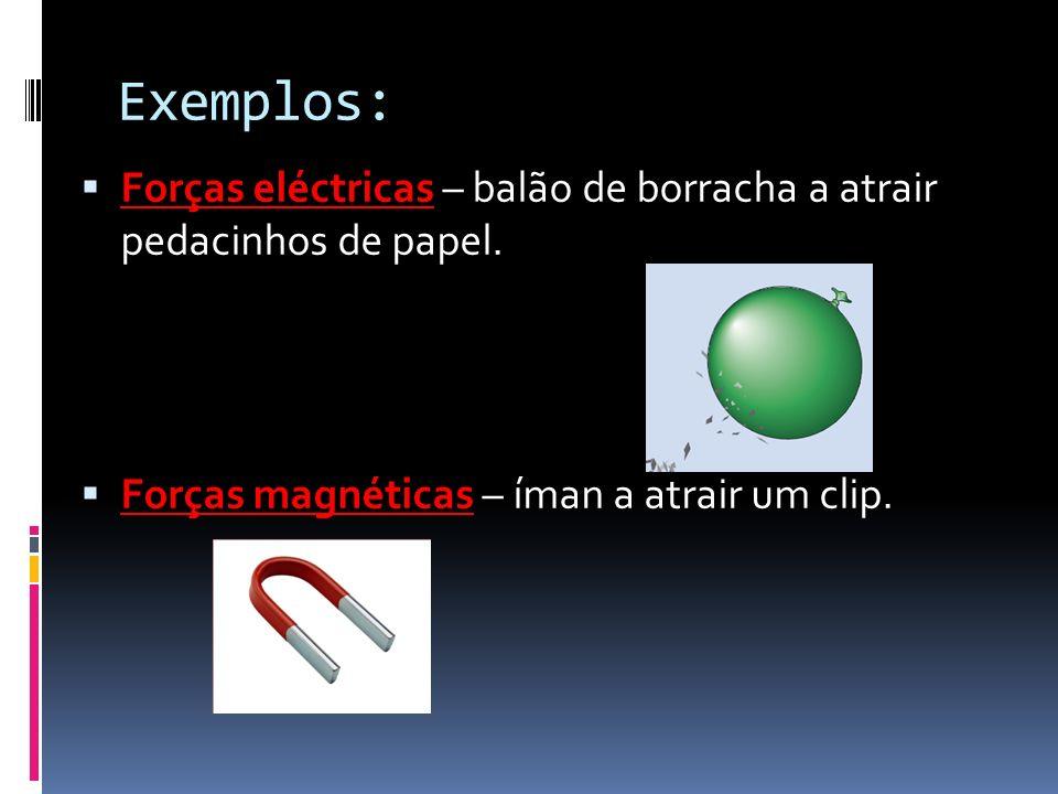 Exemplos: Forças eléctricas – balão de borracha a atrair pedacinhos de papel. Forças magnéticas – íman a atrair um clip.