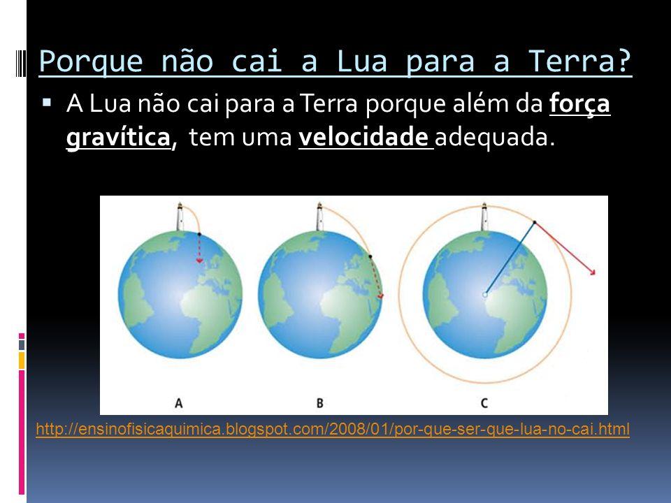 Porque não cai a Lua para a Terra? A Lua não cai para a Terra porque além da força gravítica, tem uma velocidade adequada. http://ensinofisicaquimica.