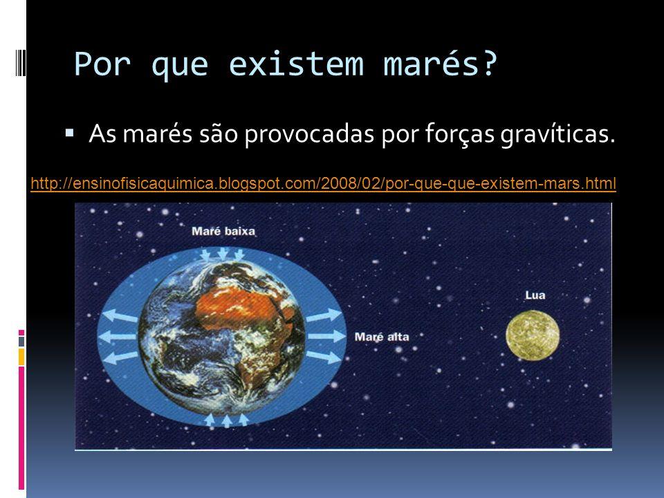 Por que existem marés? As marés são provocadas por forças gravíticas. http://ensinofisicaquimica.blogspot.com/2008/02/por-que-que-existem-mars.html