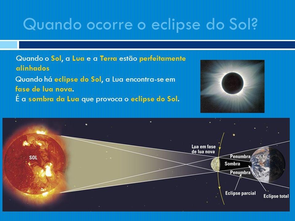 Quando há eclipse do Sol, a Lua encontra-se em fase de lua nova. É a sombra da Lua que provoca o eclipse do Sol. Quando ocorre o eclipse do Sol? Quand