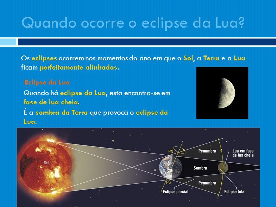 Os eclipses ocorrem nos momentos do ano em que o Sol, a Terra e a Lua ficam perfeitamente alinhados. Eclipse da Lua Quando há eclipse da Lua, esta enc