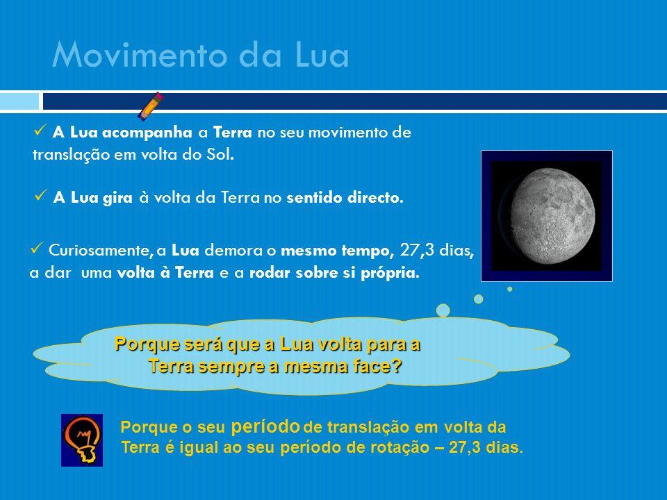 A Lua acompanha a Terra no seu movimento de translação em volta do Sol. A Lua gira à volta da Terra no sentido directo. Curiosamente, a Lua demora o m