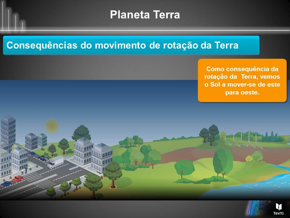 Planeta Terra Consequências do movimento de rotação da Terra Como consequência da rotação da Terra, vemos o Sol a mover-se de este para oeste.