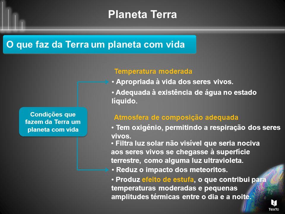 Planeta Terra O que faz da Terra um planeta com vida Condições que fazem da Terra um planeta com vida Temperatura moderada Apropriada à vida dos seres
