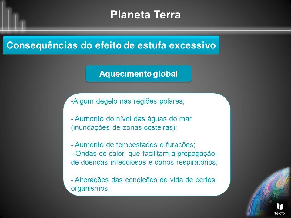Planeta Terra Consequências do efeito de estufa excessivo Aquecimento global -Algum degelo nas regiões polares; - Aumento do nível das águas do mar (i
