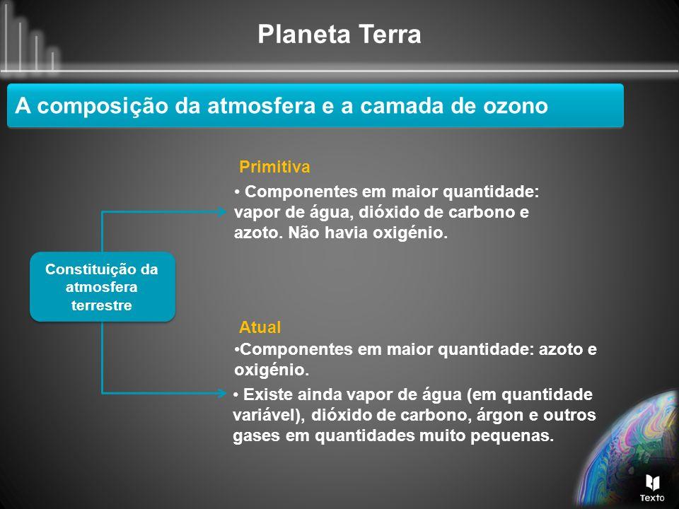 Planeta Terra Constituição da atmosfera terrestre Primitiva Componentes em maior quantidade: vapor de água, dióxido de carbono e azoto. Não havia oxig