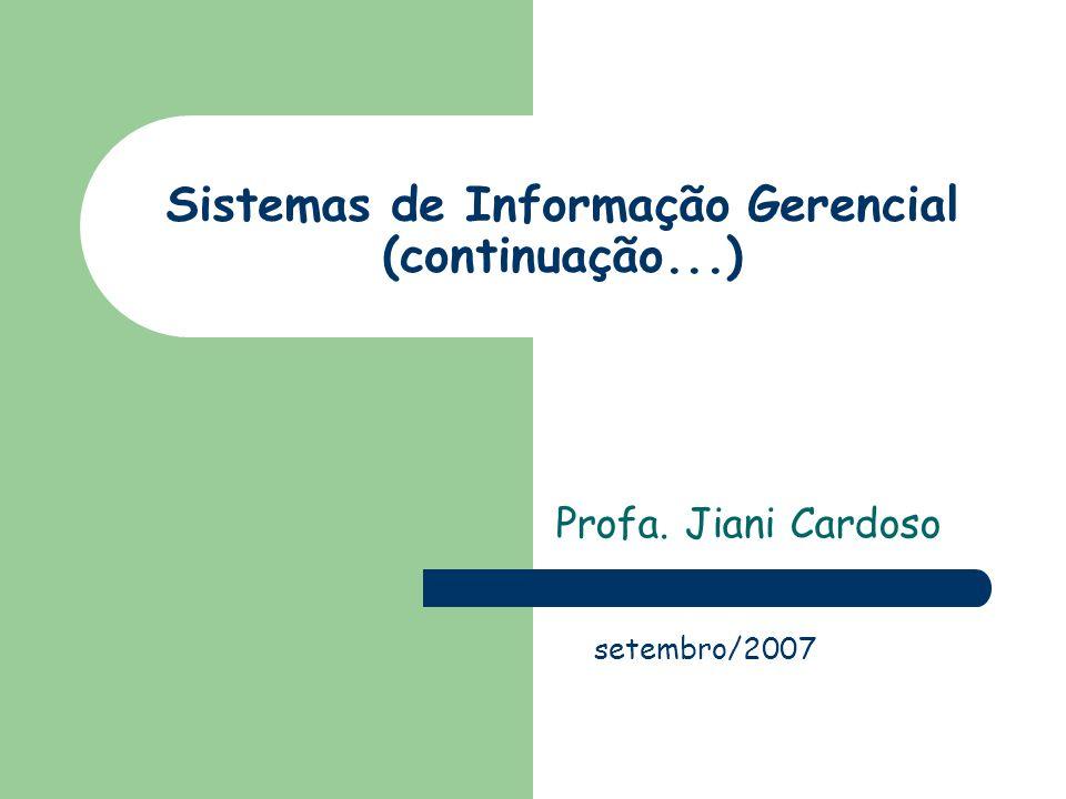 Sistemas de Informação Gerencial (continuação...) Profa. Jiani Cardoso setembro/2007