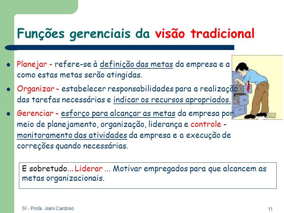 11 SI - Profa. Jiani Cardoso Funções gerenciais da visão tradicional Planejar - refere-se à definição das metas da empresa e a como estas metas serão
