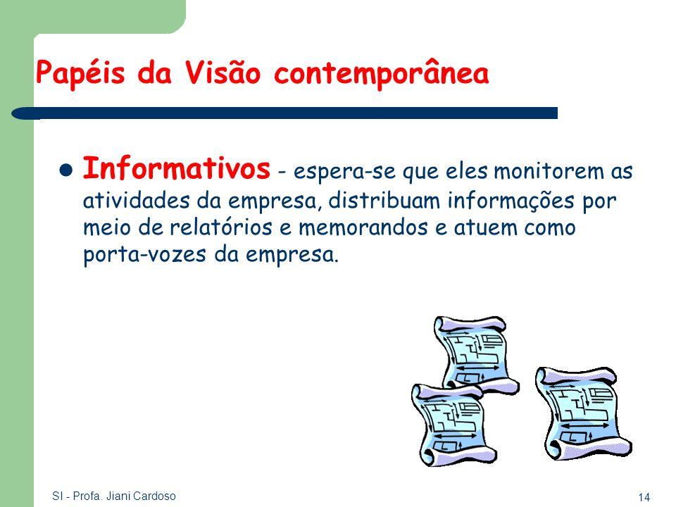 14 SI - Profa. Jiani Cardoso Informativos - espera-se que eles monitorem as atividades da empresa, distribuam informações por meio de relatórios e mem