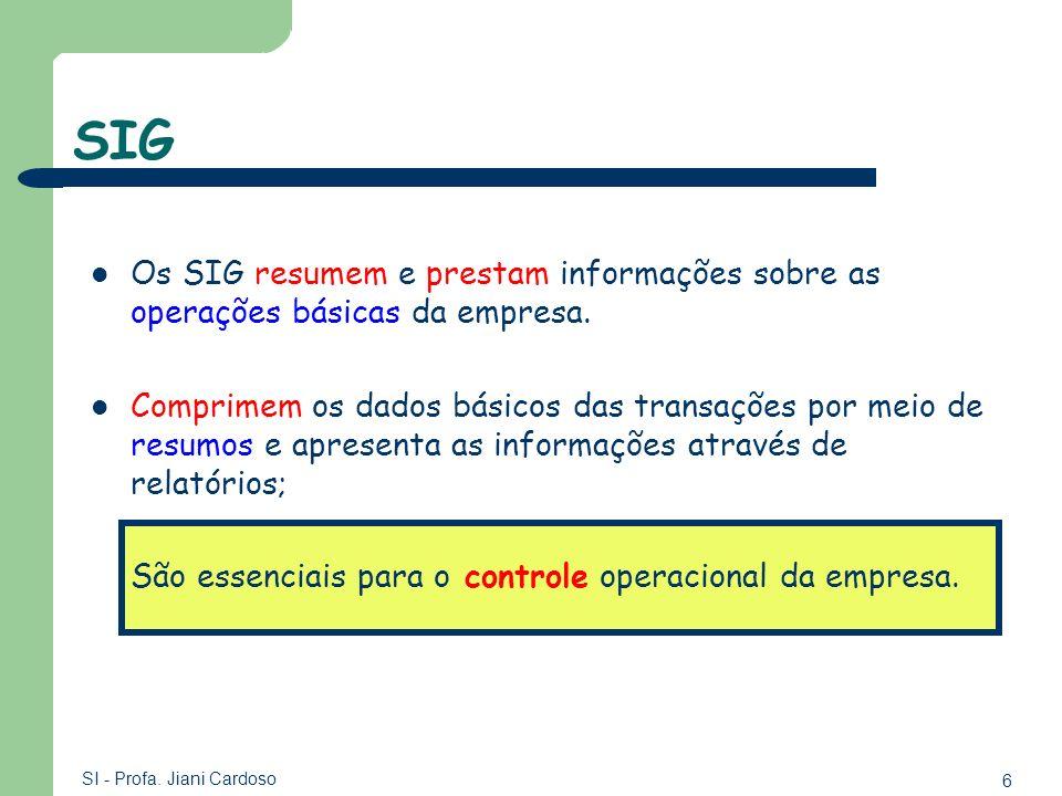 6 SI - Profa. Jiani Cardoso SIG Os SIG resumem e prestam informações sobre as operações básicas da empresa. Comprimem os dados básicos das transações