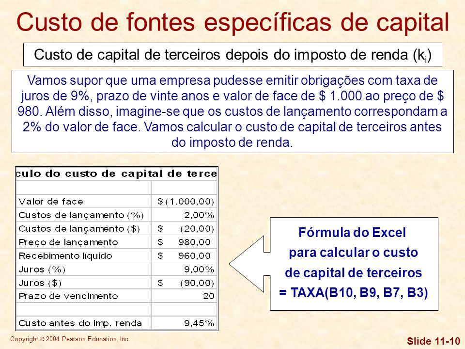 Copyright © 2004 Pearson Education, Inc. Slide 11-9 Custo de capital de terceiros depois do imposto de renda (k i ) O custo de capital de terceiros an