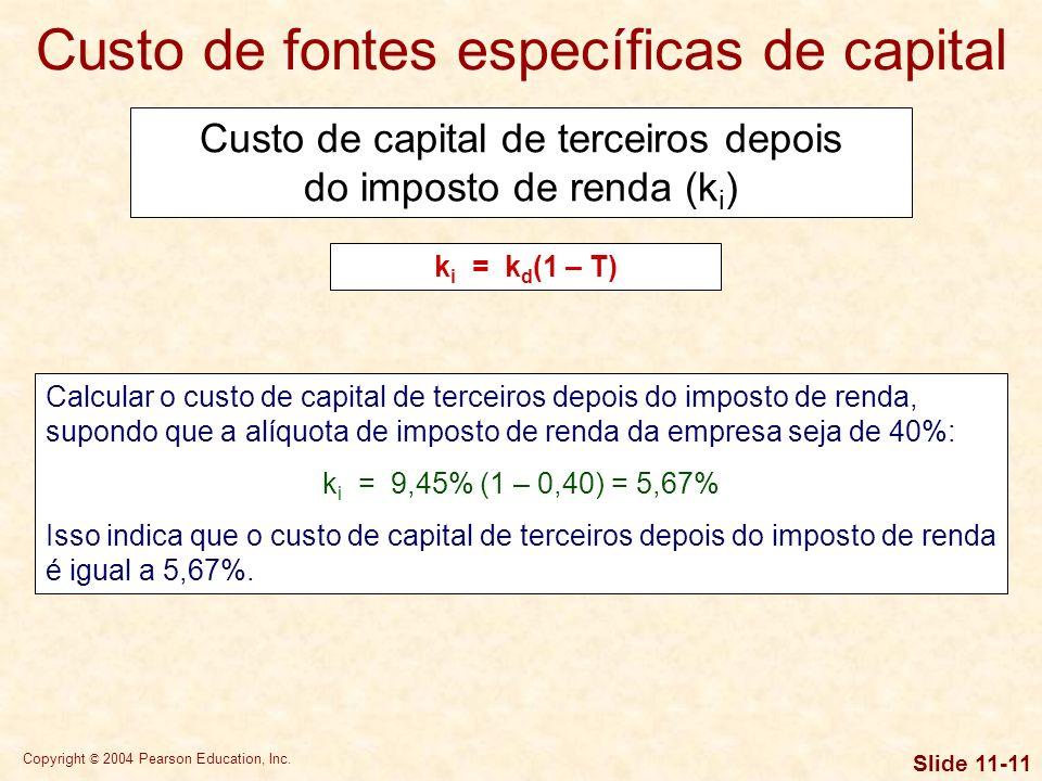 Copyright © 2004 Pearson Education, Inc. Slide 11-10 Custo de fontes específicas de capital Vamos supor que uma empresa pudesse emitir obrigações com