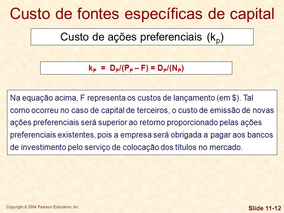 Copyright © 2004 Pearson Education, Inc. Slide 11-11 k i = k d (1 – T) Calcular o custo de capital de terceiros depois do imposto de renda, supondo qu