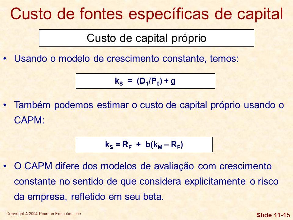Copyright © 2004 Pearson Education, Inc. Slide 11-14 Custo de capital próprio Custo de fontes específicas de capital Existem duas modalidades de finan