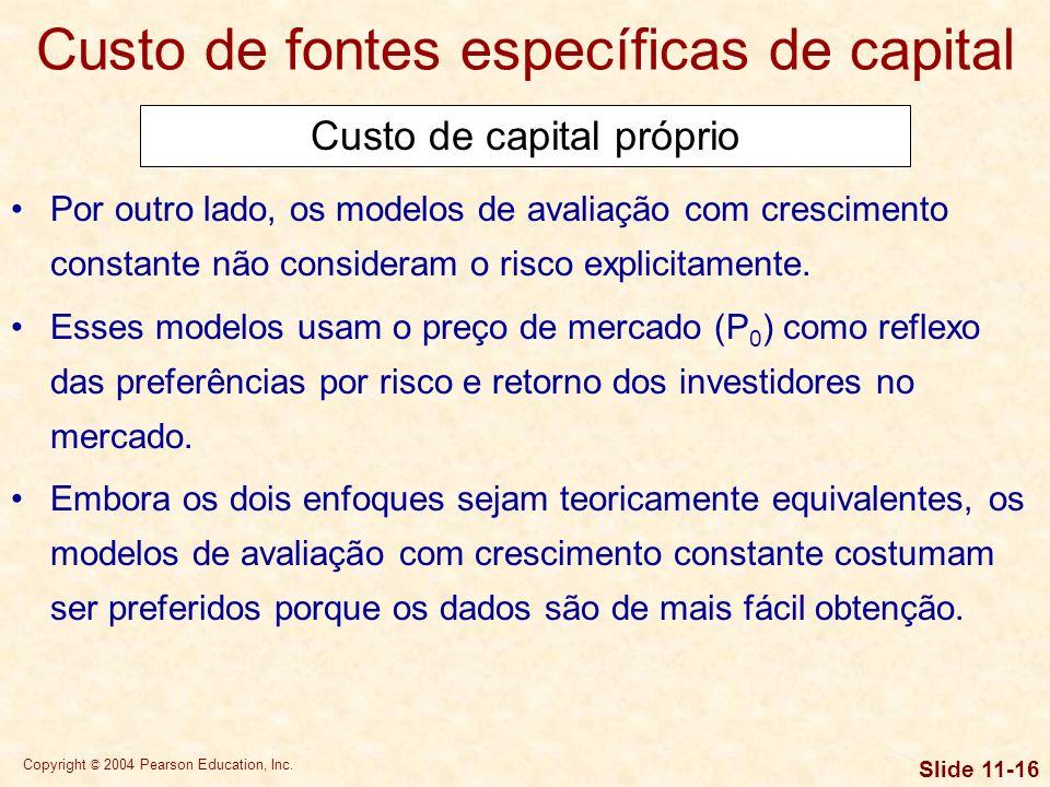 Copyright © 2004 Pearson Education, Inc. Slide 11-15 Custo de capital próprio Custo de fontes específicas de capital Usando o modelo de crescimento co