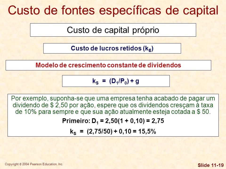 Copyright © 2004 Pearson Education, Inc. Slide 11-18 Custo de capital próprio Enfoque da linha de mercado de títulos Custo de lucros retidos (k E ) k