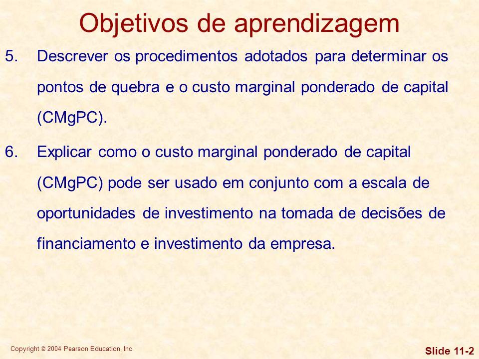 Copyright © 2004 Pearson Education, Inc. Slide 11-1 Objetivos de aprendizagem 1.Compreender as hipóteses básicas subjacentes ao custo de capital, seu