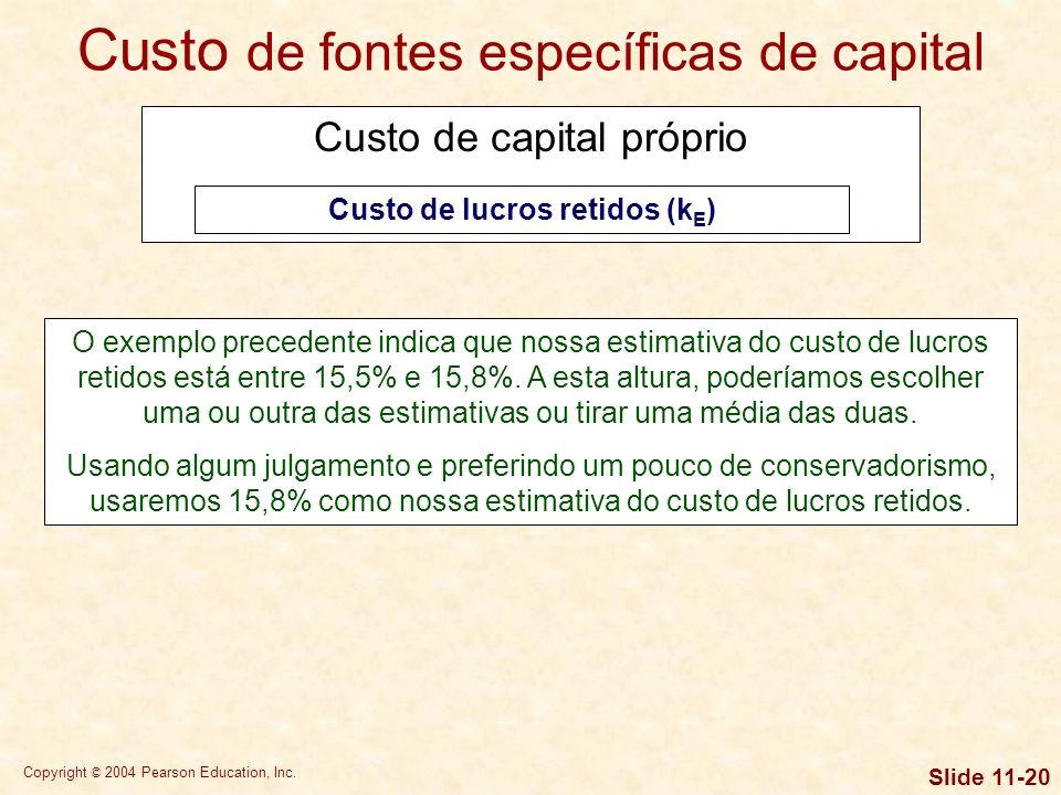 Copyright © 2004 Pearson Education, Inc. Slide 11-19 Modelo de crescimento constante de dividendos k S = (D 1 /P 0 ) + g Por exemplo, suponha-se que u
