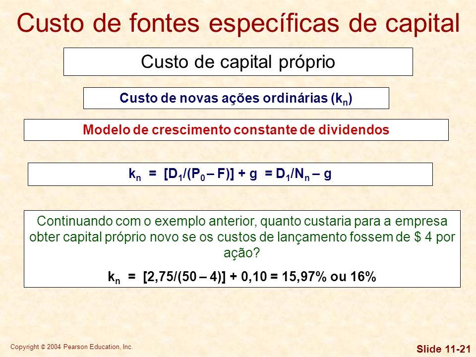Copyright © 2004 Pearson Education, Inc. Slide 11-20 O exemplo precedente indica que nossa estimativa do custo de lucros retidos está entre 15,5% e 15