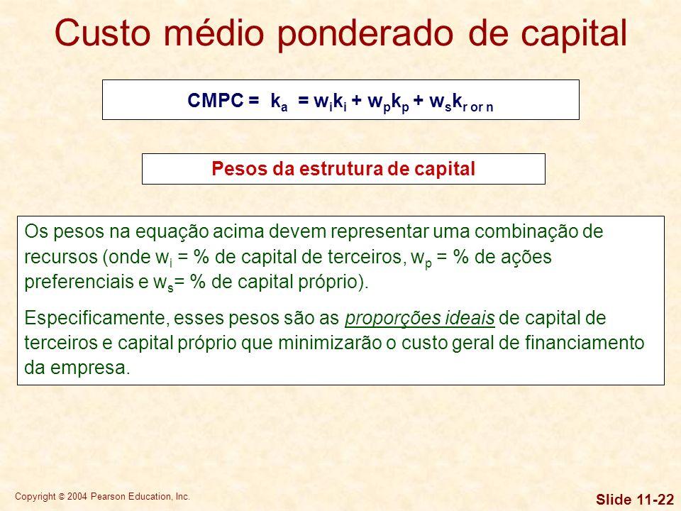 Copyright © 2004 Pearson Education, Inc. Slide 11-21 Modelo de crescimento constante de dividendos Custo de novas ações ordinárias (k n ) k n = [D 1 /