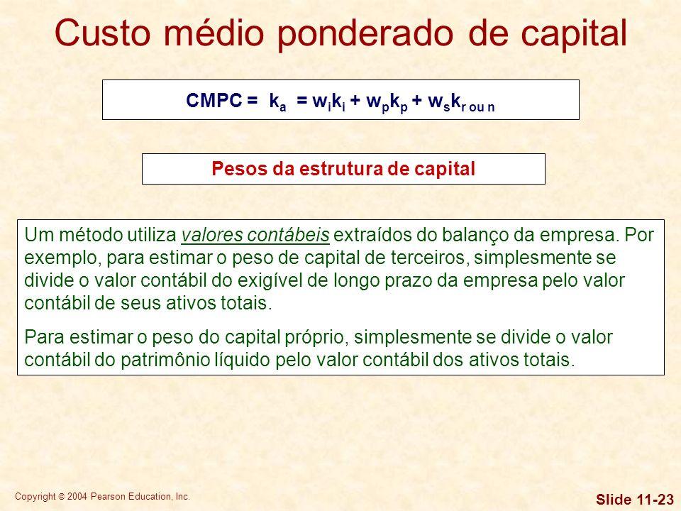 Copyright © 2004 Pearson Education, Inc. Slide 11-22 Pesos da estrutura de capital CMPC = k a = w i k i + w p k p + w s k r or n Os pesos na equação a