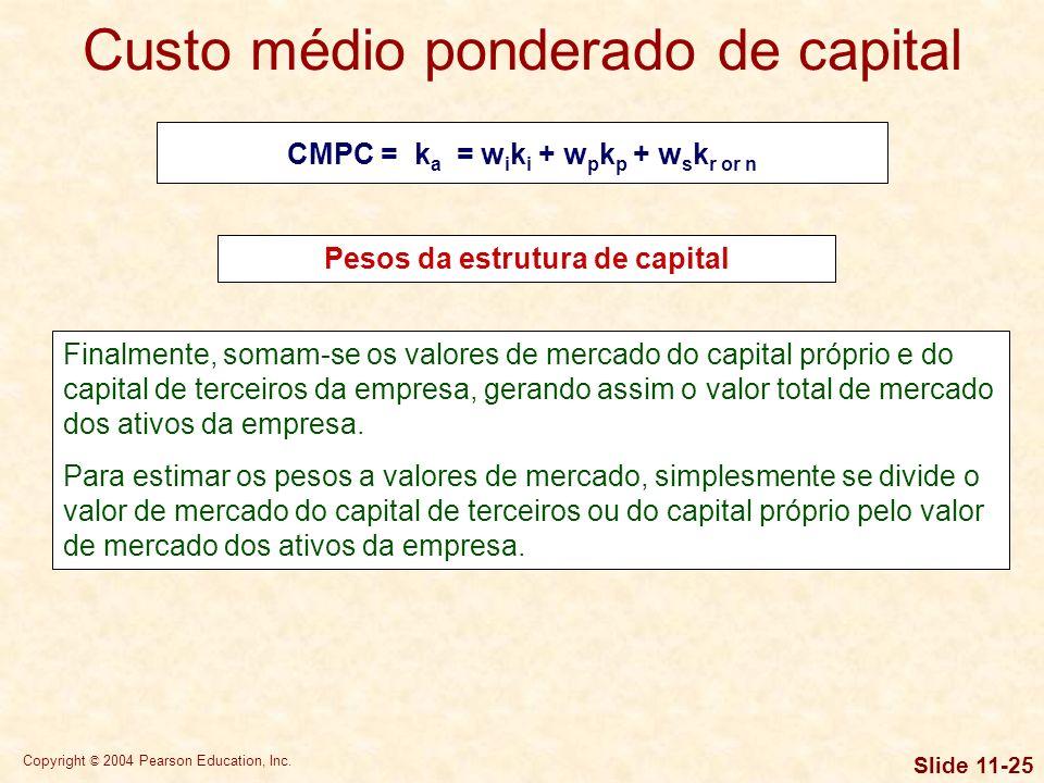 Copyright © 2004 Pearson Education, Inc. Slide 11-24 Um segundo método usa os valores de mercado do capital de terceiros e do capital próprio da empre