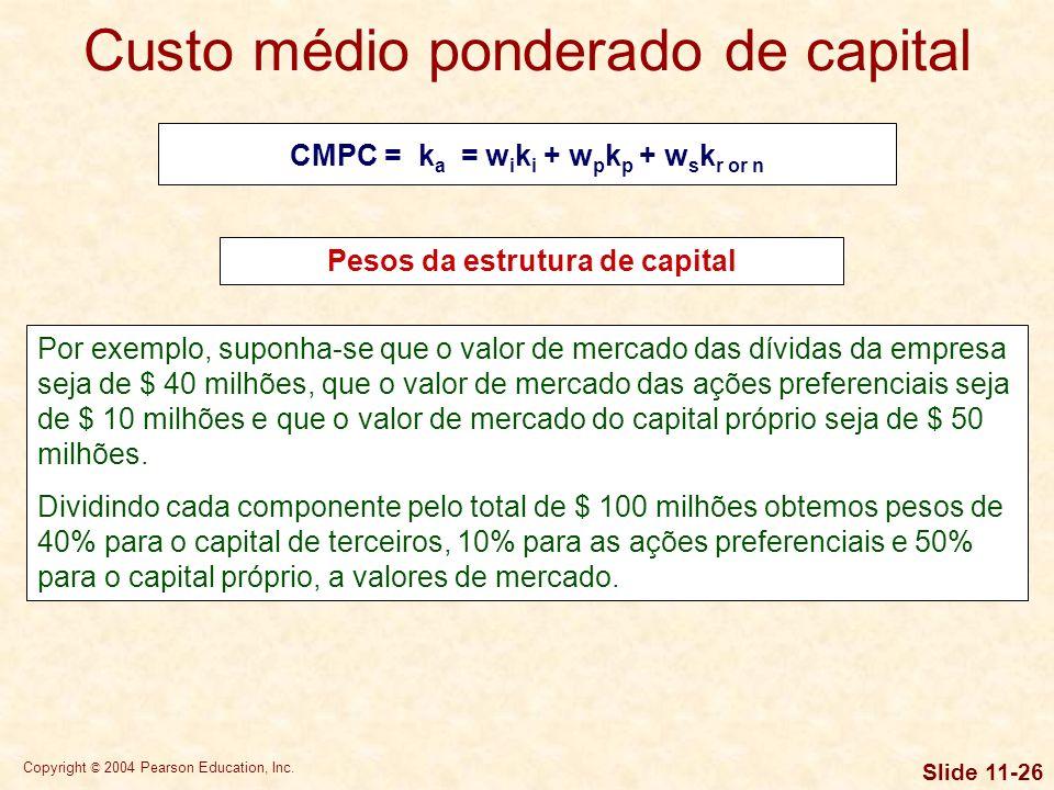 Copyright © 2004 Pearson Education, Inc. Slide 11-25 Finalmente, somam-se os valores de mercado do capital próprio e do capital de terceiros da empres