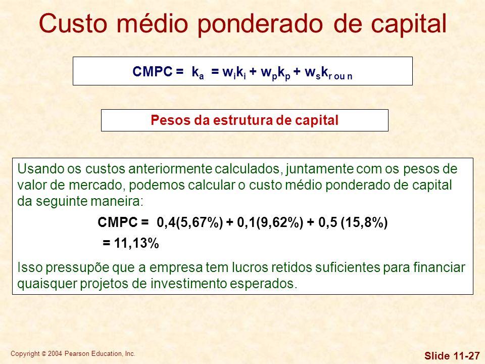 Copyright © 2004 Pearson Education, Inc. Slide 11-26 Por exemplo, suponha-se que o valor de mercado das dívidas da empresa seja de $ 40 milhões, que o