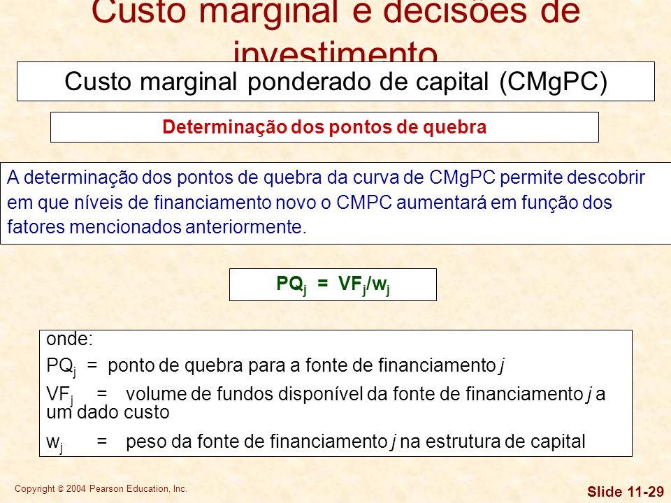 Copyright © 2004 Pearson Education, Inc. Slide 11-28 O CMPC costuma aumentar à medida que o volume de capital novo cresce em dado período. Isso ocorre