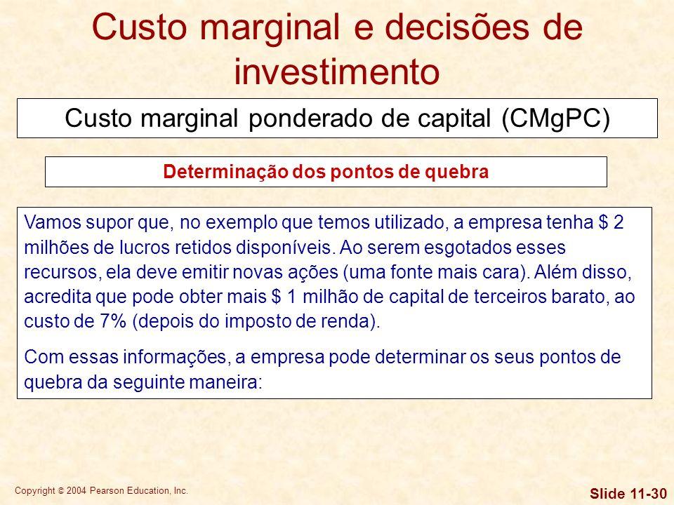 Copyright © 2004 Pearson Education, Inc. Slide 11-29 A determinação dos pontos de quebra da curva de CMgPC permite descobrir em que níveis de financia