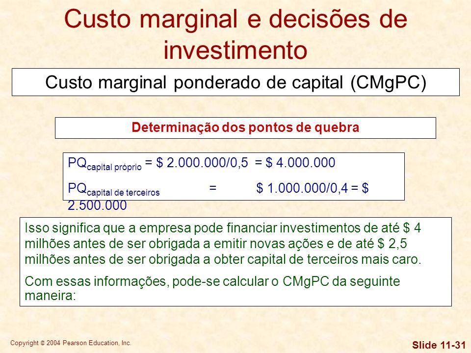 Copyright © 2004 Pearson Education, Inc. Slide 11-30 Vamos supor que, no exemplo que temos utilizado, a empresa tenha $ 2 milhões de lucros retidos di
