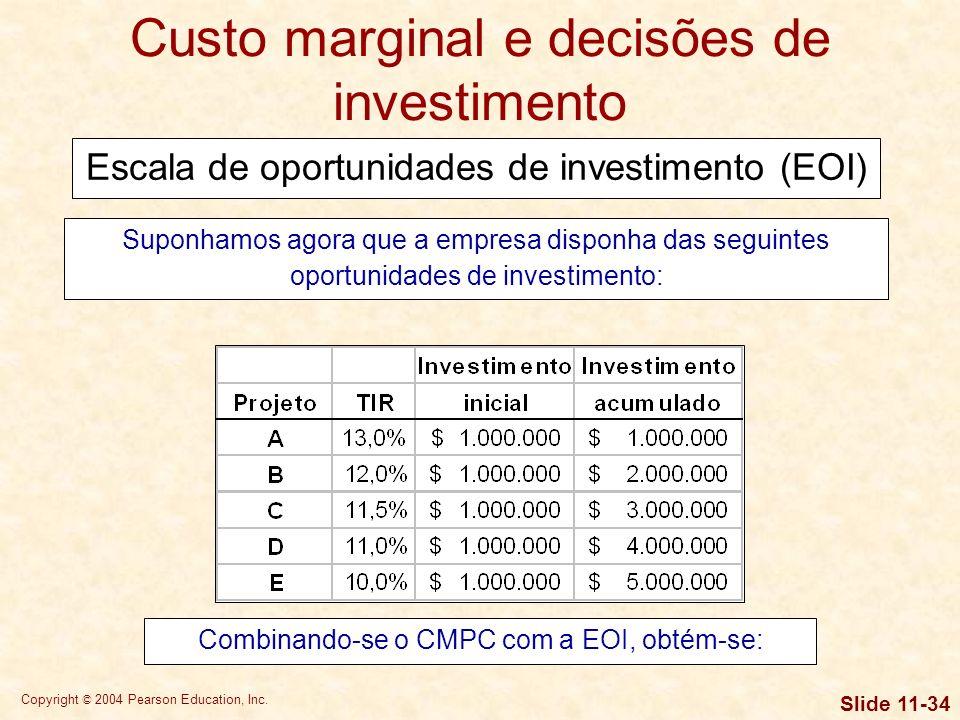 Copyright © 2004 Pearson Education, Inc. Slide 11-33 Custo marginal e decisões de investimento $ 2,5$ 4 Financiamento total (milhões) 11,75% 11,25% 11