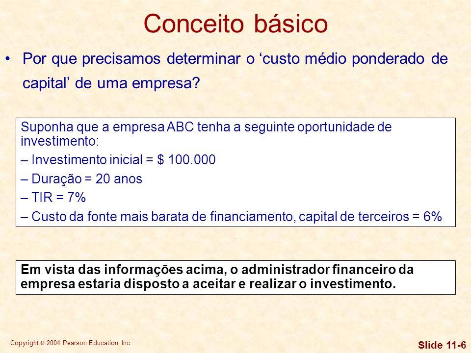 Copyright © 2004 Pearson Education, Inc. Slide 11-5 Risco econômico – supõe-se que o risco de que a empresa não seja capaz de cobrir os custos operaci
