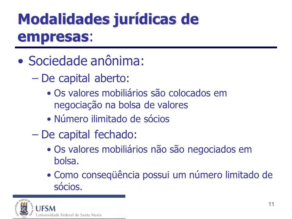 11 Modalidades jurídicas de empresas Modalidades jurídicas de empresas: Sociedade anônima: –De capital aberto: Os valores mobiliários são colocados em