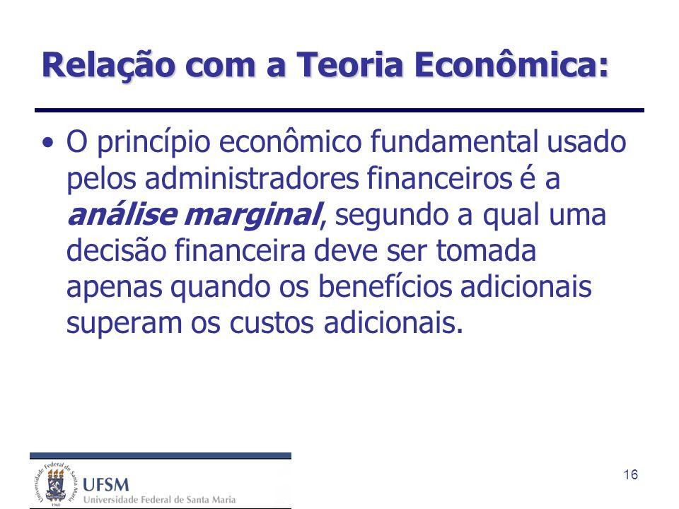 16 Relação com a Teoria Econômica: O princípio econômico fundamental usado pelos administradores financeiros é a análise marginal, segundo a qual uma