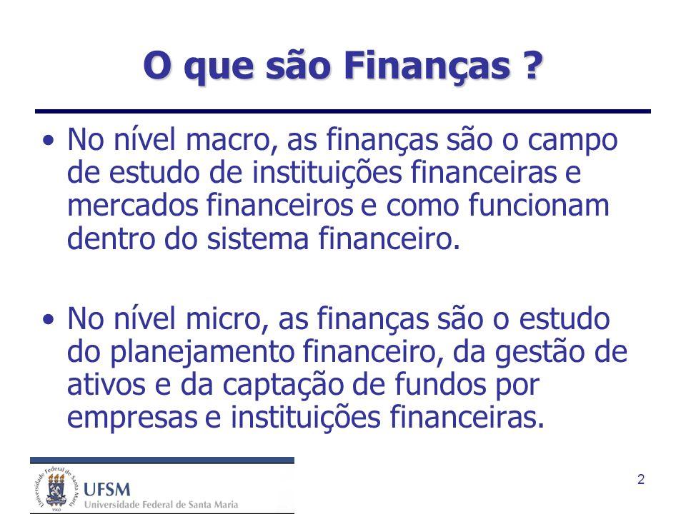 2 O que são Finanças ? No nível macro, as finanças são o campo de estudo de instituições financeiras e mercados financeiros e como funcionam dentro do