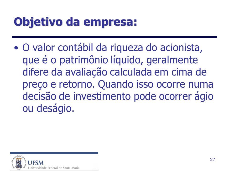27 Objetivo da empresa: O valor contábil da riqueza do acionista, que é o patrimônio líquido, geralmente difere da avaliação calculada em cima de preç