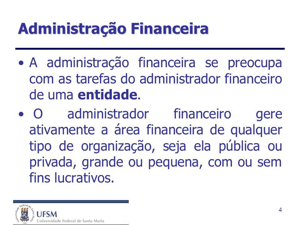 4 Administração Financeira A administração financeira se preocupa com as tarefas do administrador financeiro de uma entidade. O administrador financei