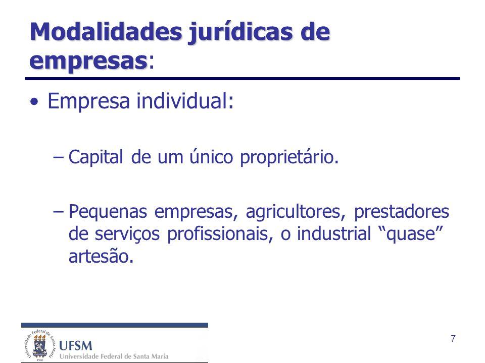 7 Modalidades jurídicas de empresas Modalidades jurídicas de empresas: Empresa individual: –Capital de um único proprietário. –Pequenas empresas, agri
