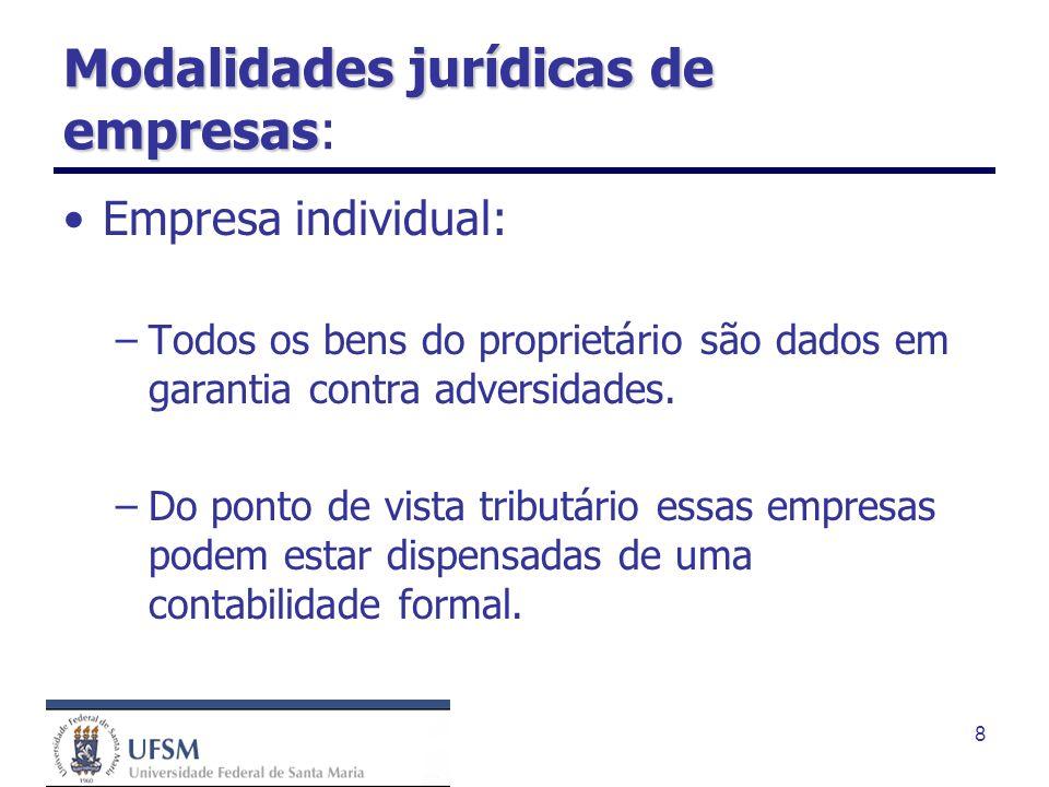 8 Modalidades jurídicas de empresas Modalidades jurídicas de empresas: Empresa individual: –Todos os bens do proprietário são dados em garantia contra