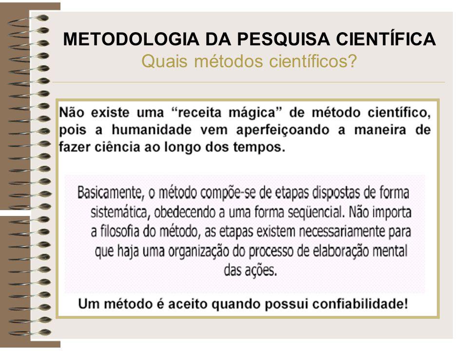 METODOLOGIA DA PESQUISA CIENTÍFICA Quais métodos científicos?