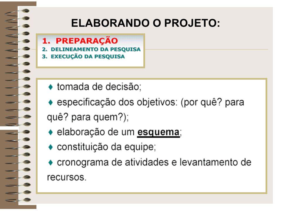 ELABORANDO O PROJETO: