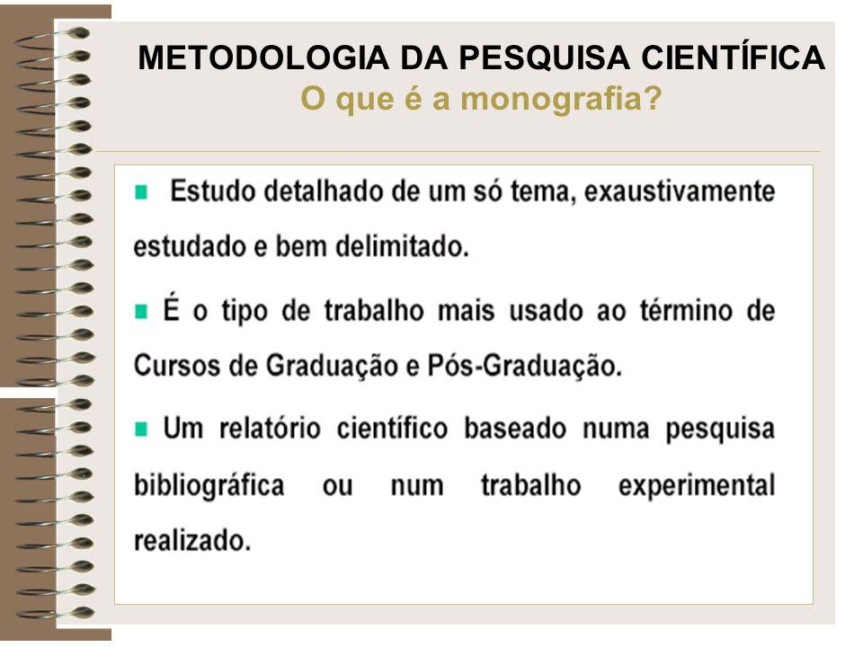 METODOLOGIA DA PESQUISA CIENTÍFICA O que é a monografia?