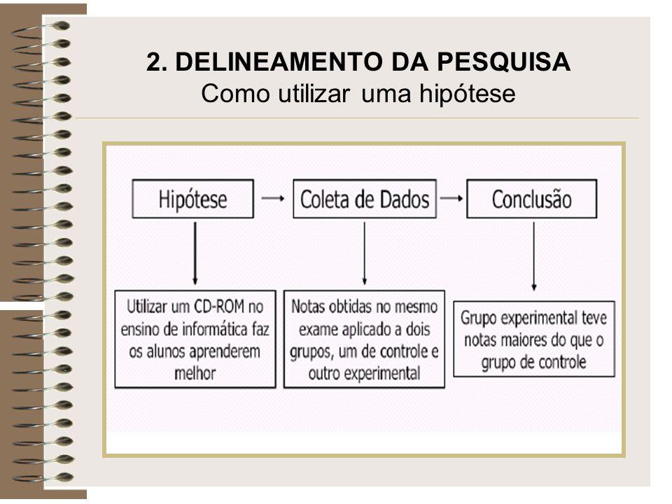 2. DELINEAMENTO DA PESQUISA Como utilizar uma hipótese
