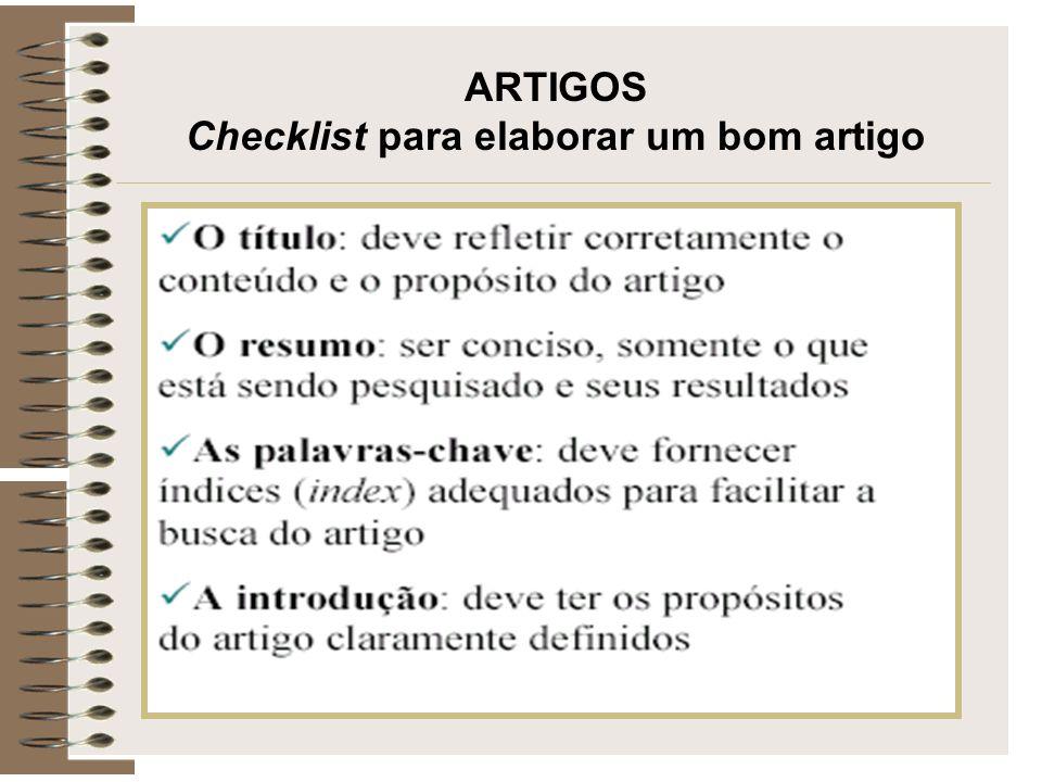 ARTIGOS Checklist para elaborar um bom artigo